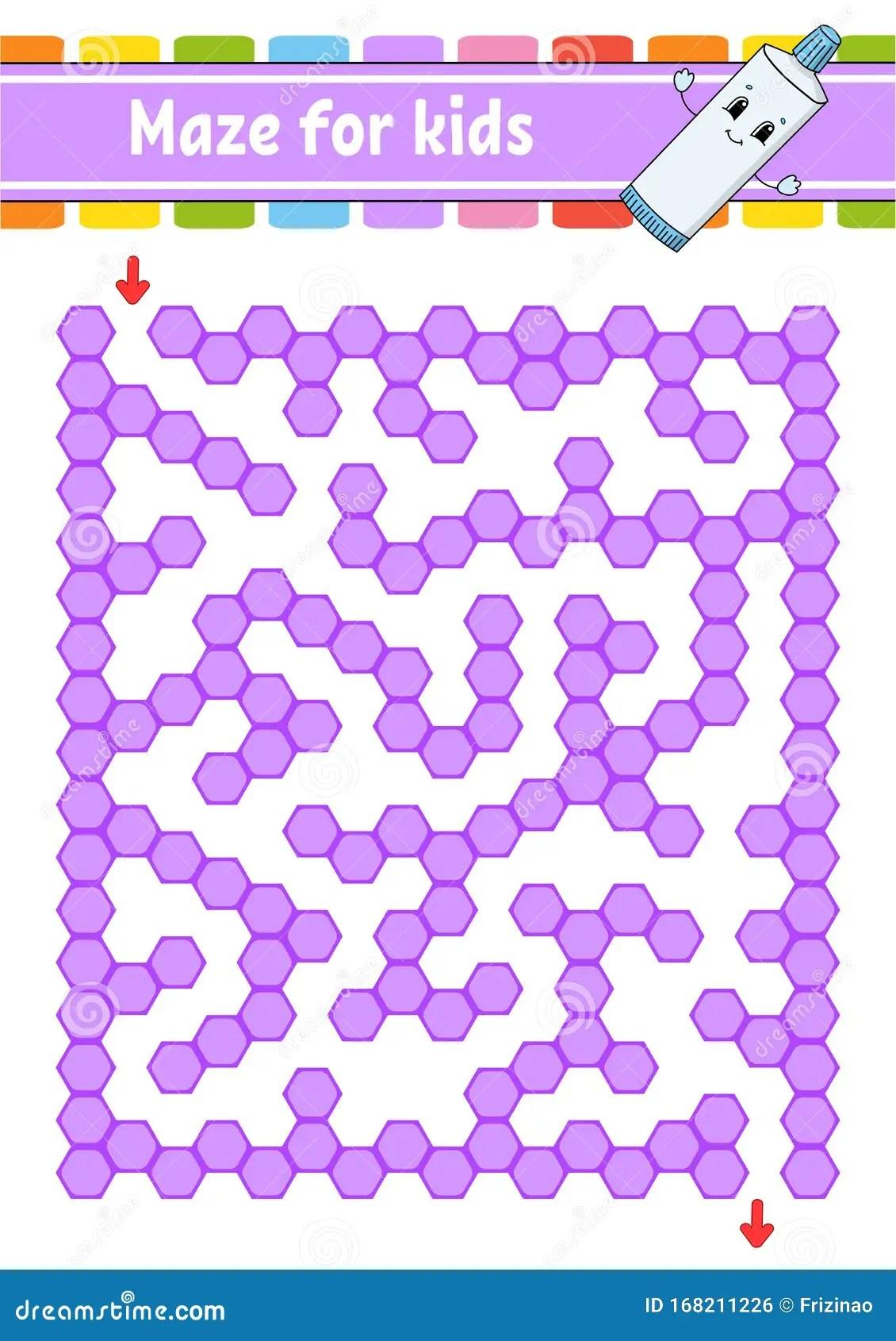 Rectangular Color Maze Game For Kids Funny Labyrinth