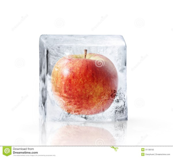 Red Apple Frozen Inside Big Ice Stock Photos - Image: 31138193