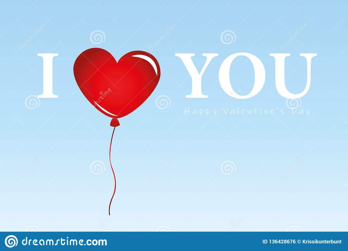 Download Red Balloons In Blue Sky I Love You Typography Stock ...