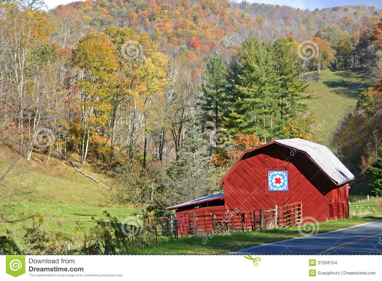 Red Barn In Autumn Stock Images Image 27559154
