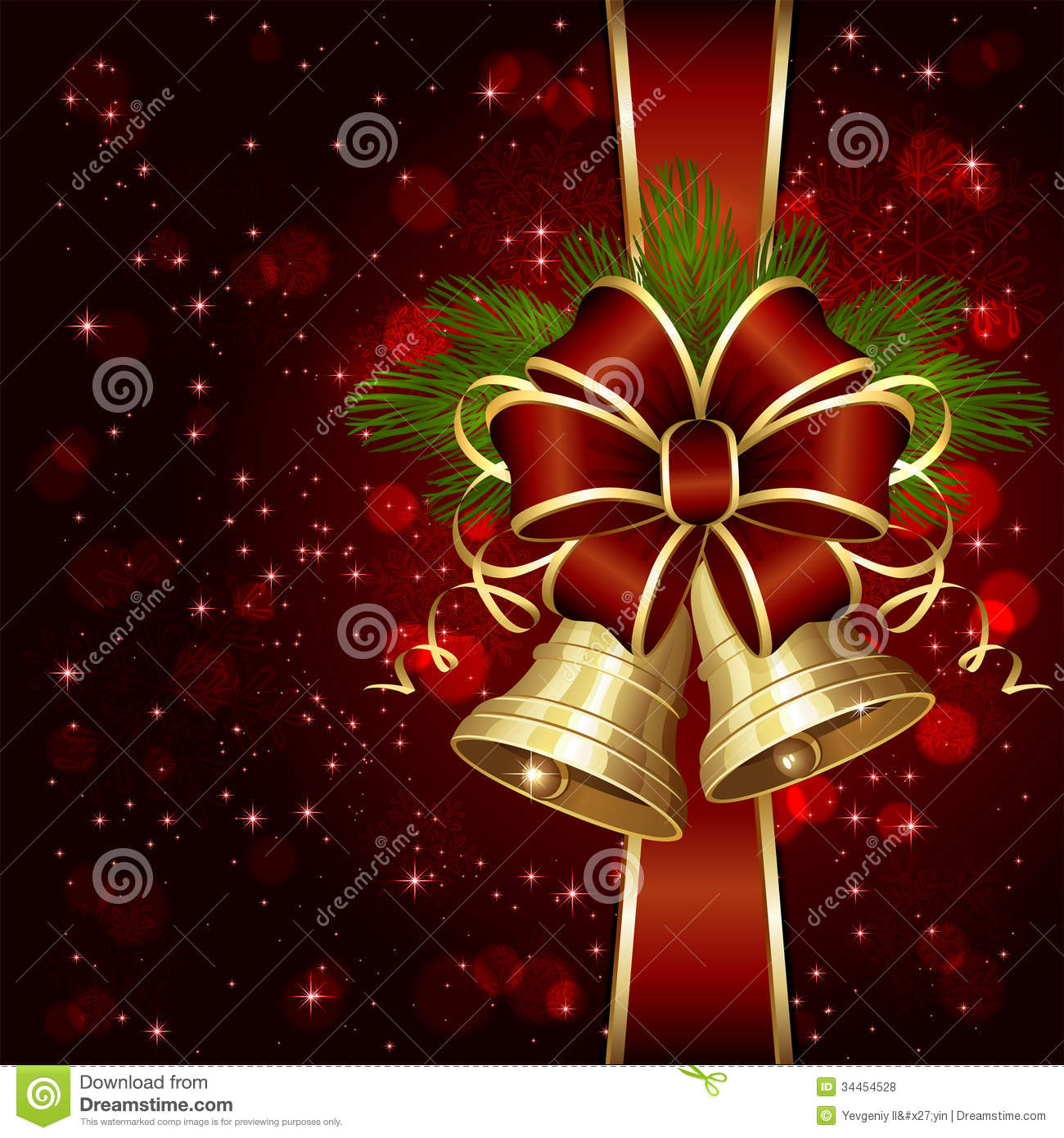 Red Bow And Shiny Bells Royalty Free Stock Photos Image