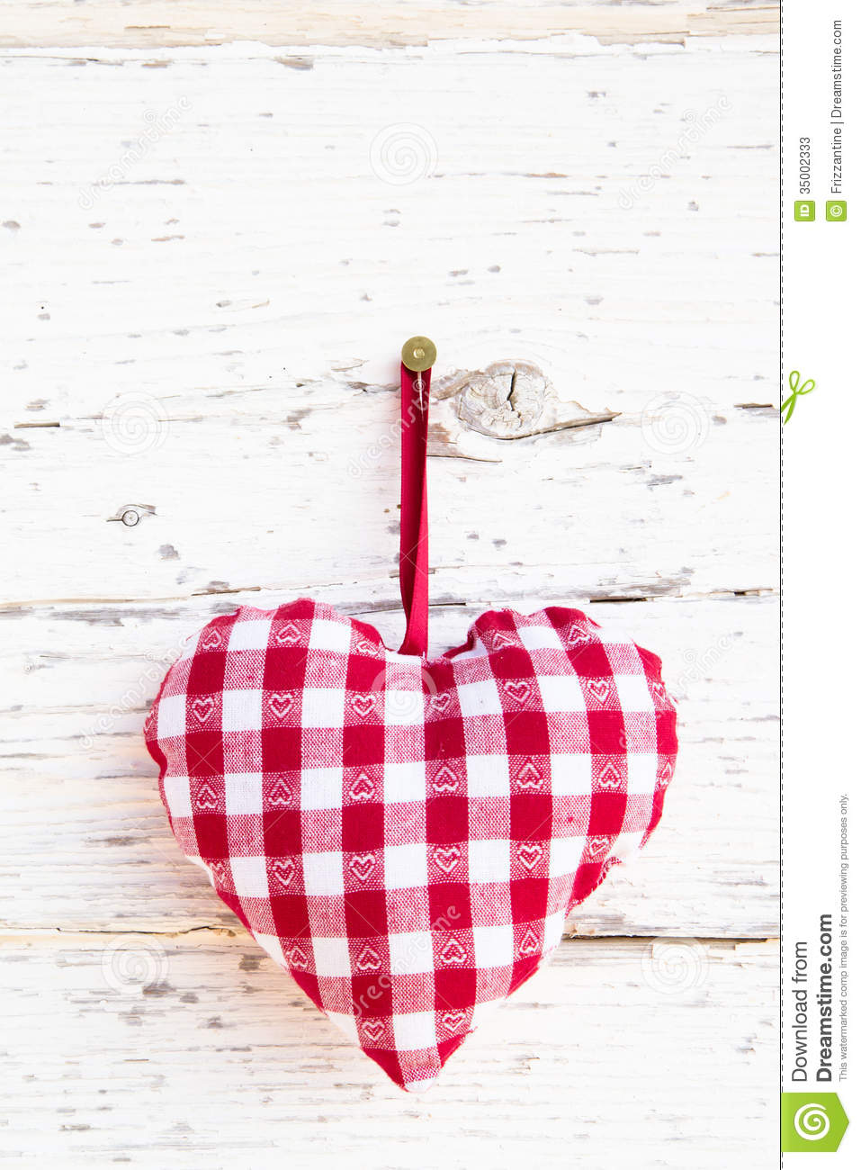 Red Checkered Heart Shape Hanging Greeting Card