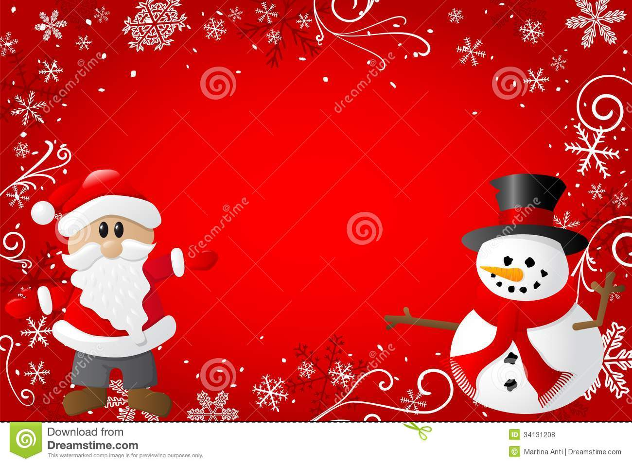 Red Christmas Background With Santa Claus And A Sn Royalty