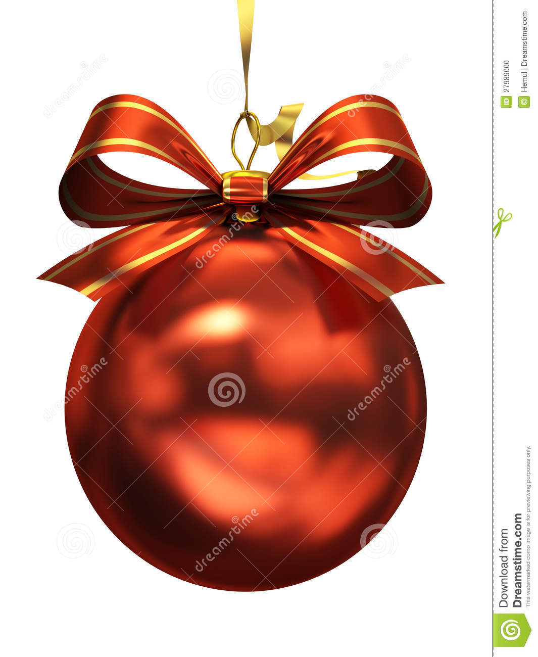 Red Christmas Ball Isolated Stock Photo Image 27989000