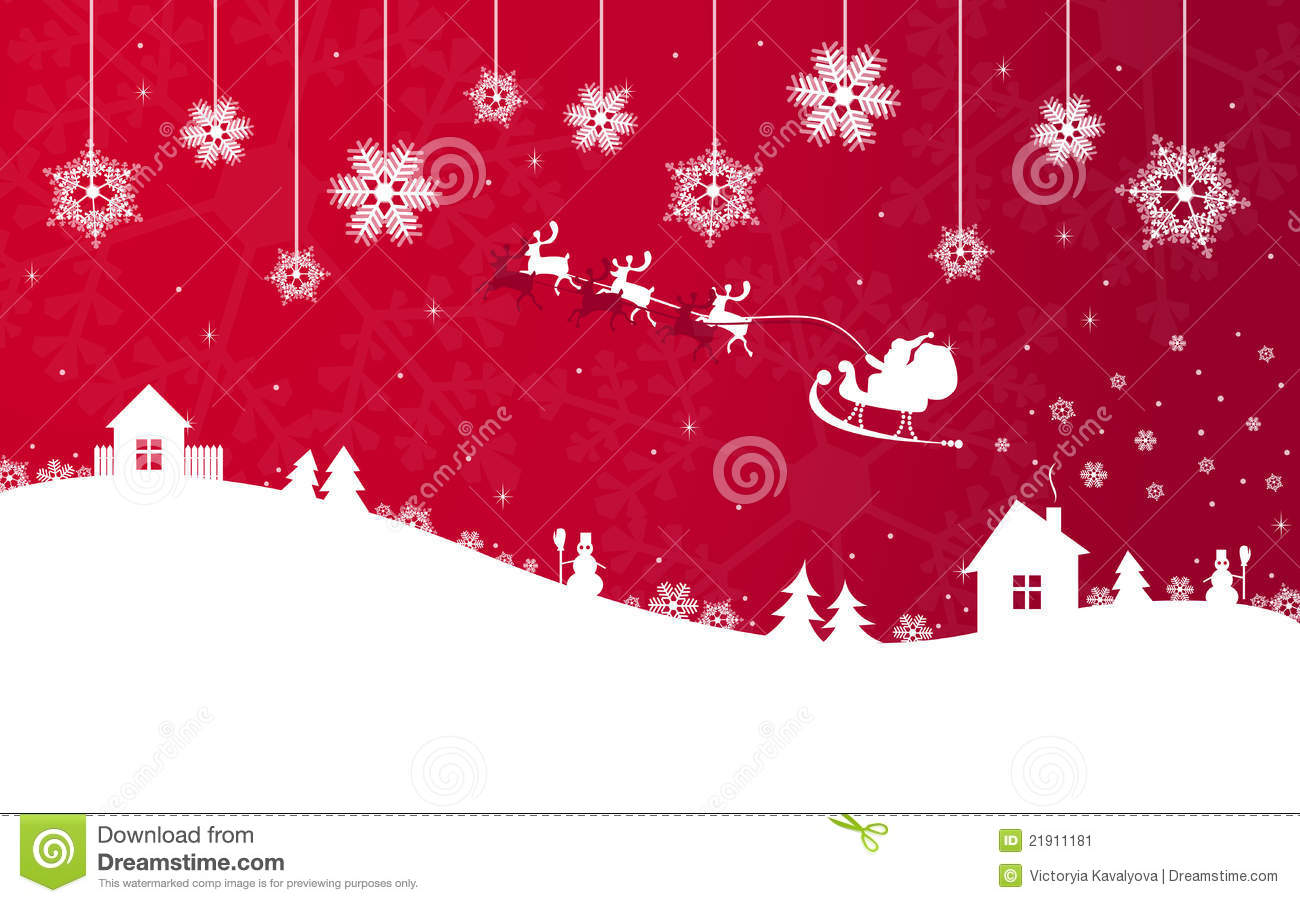 Red Christmas Banner With Santa Claus Stock Image Image