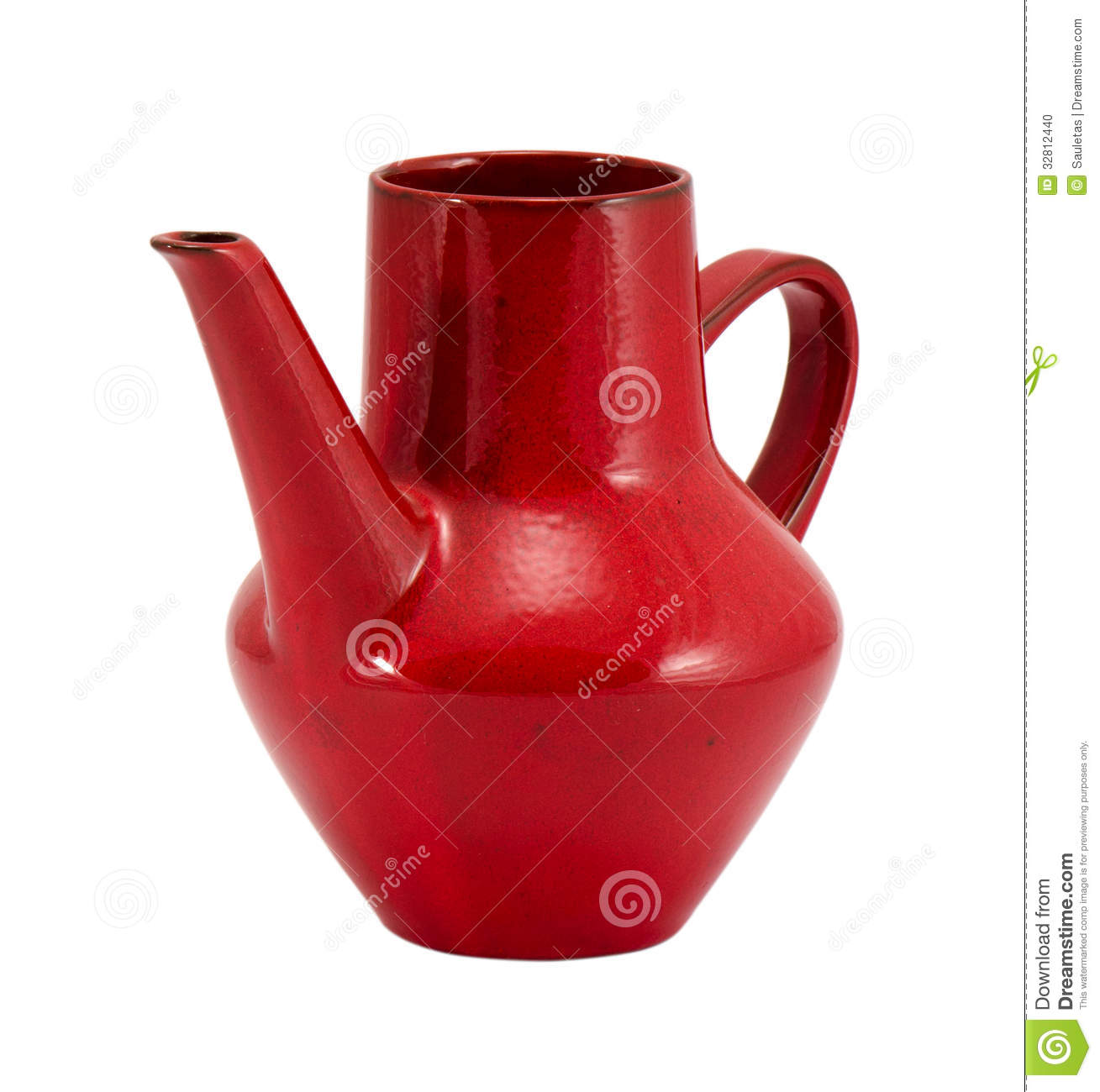 Red Clay Pitcher Handle Isolated On White Stock Photo