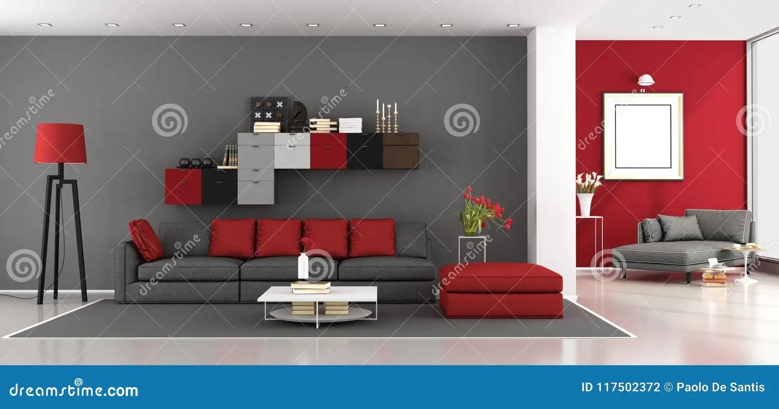https www dreamstime com red gray modern living room red gray modern living room sofa chaise lounge background d rendering image117502372