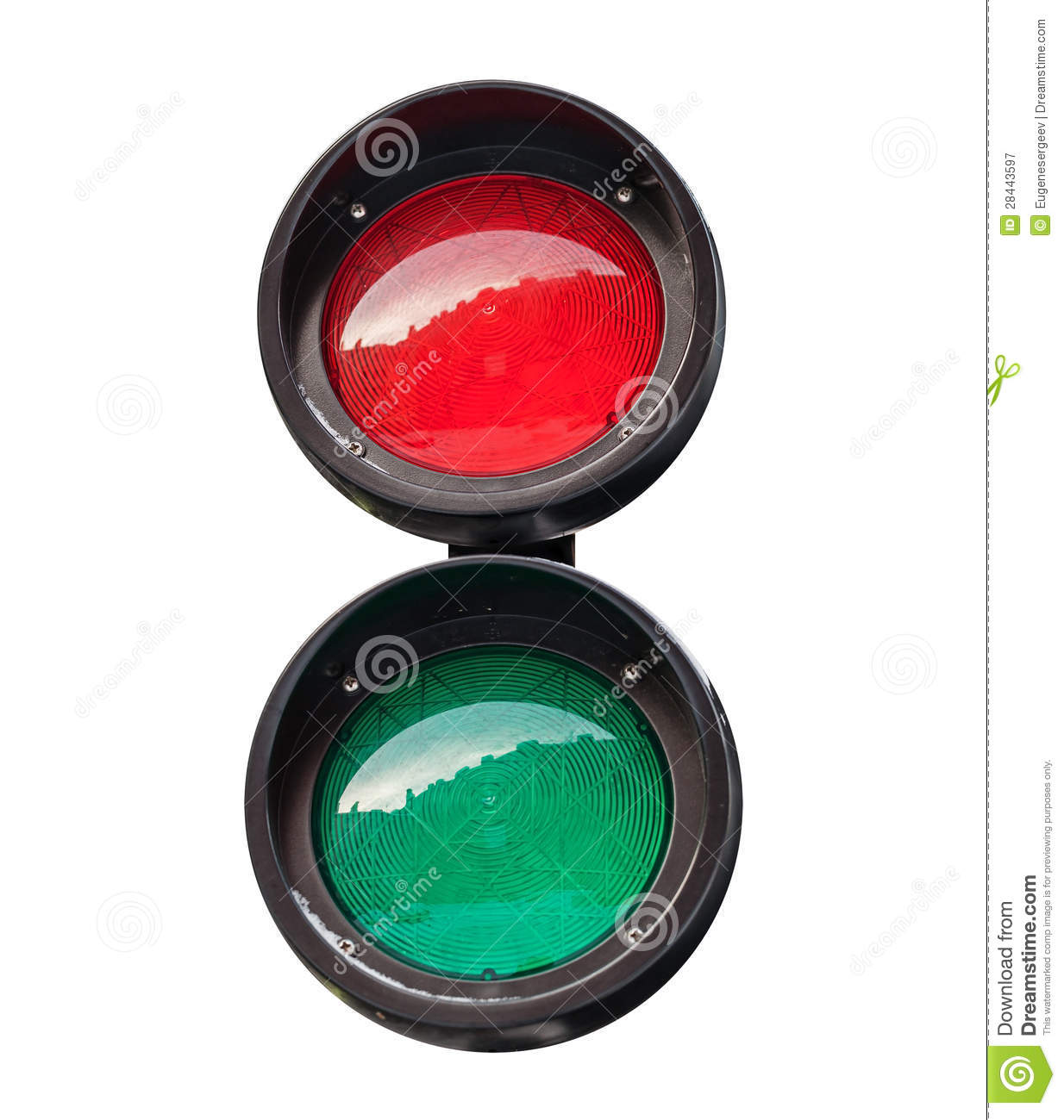 Red And Green Small Round Traffic Light Stock Image