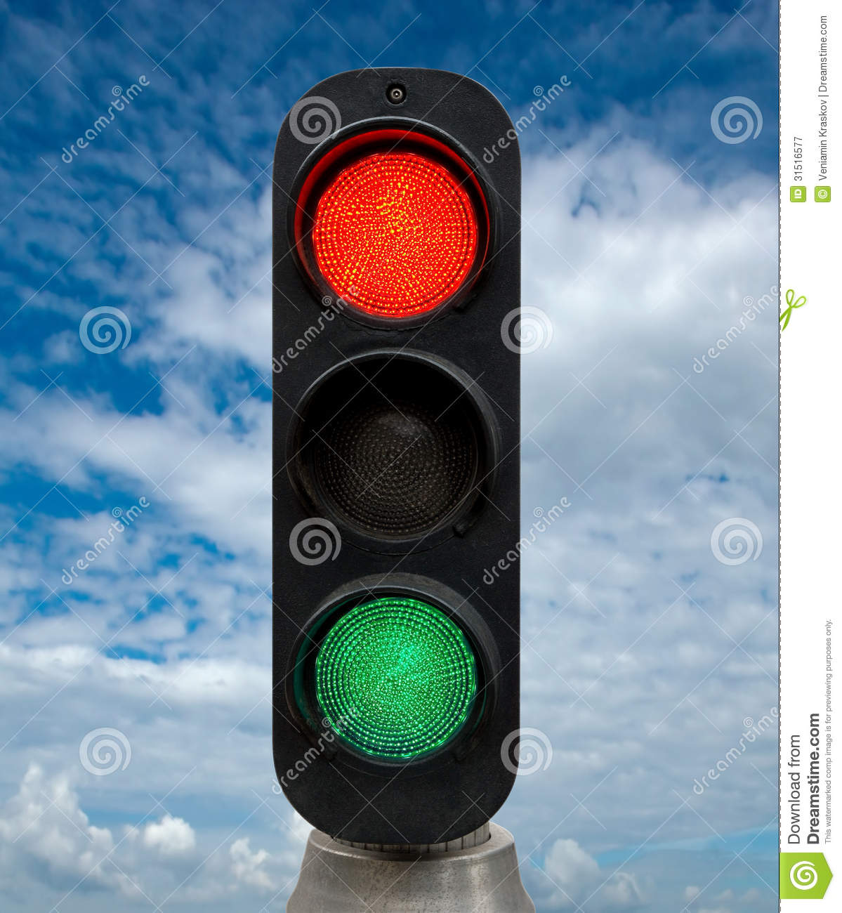 Red And Green Traffic Lights Stock Image