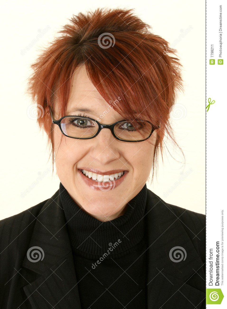 Red Headed Woman Smiling Stock Image Image 7798211