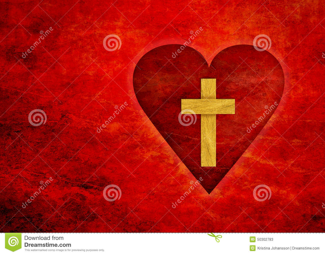Red Heart With A Cross Stock Image. Image Of Bible, Love
