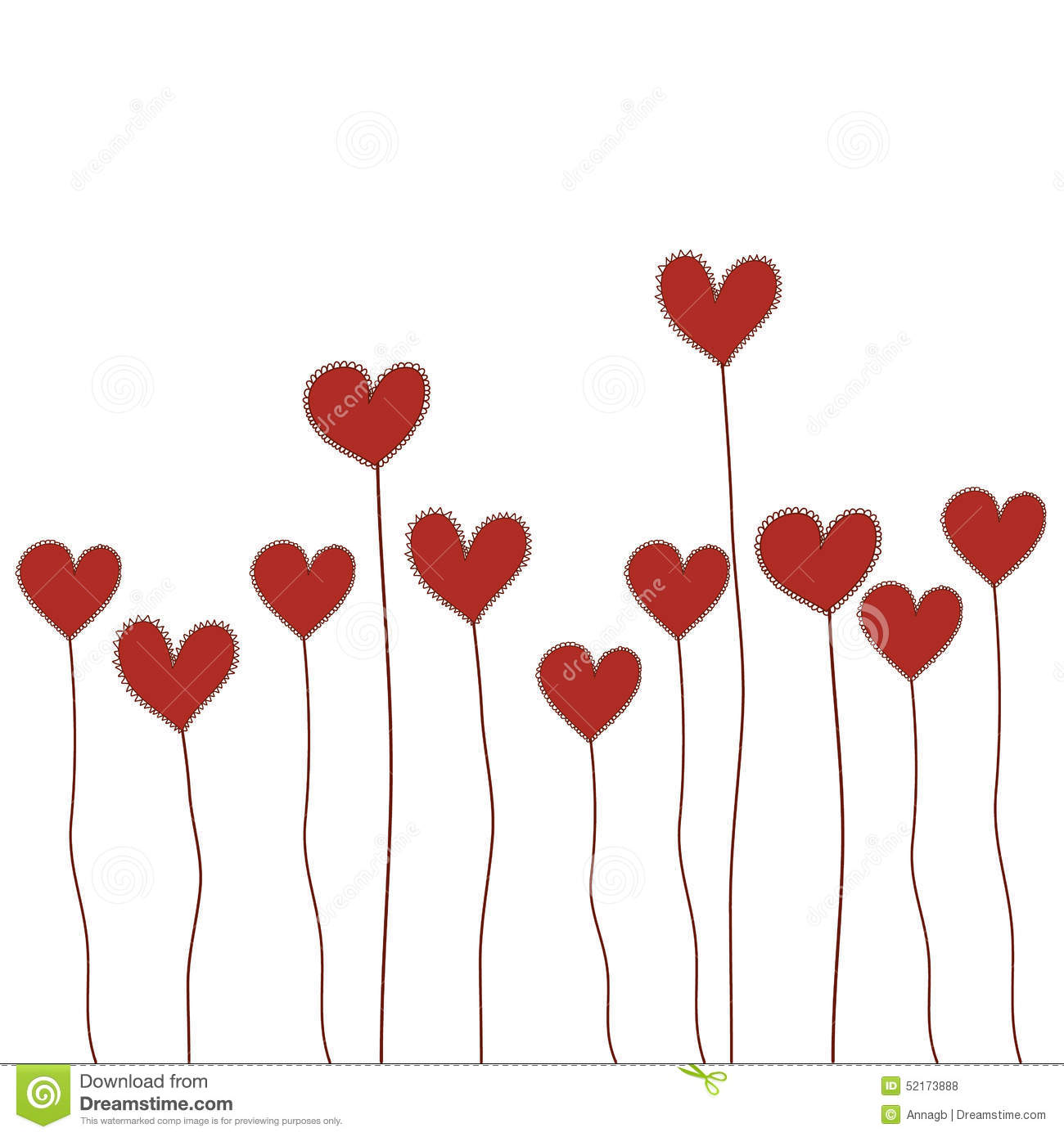 Red Heart Flowers Doodle Hand Drawn Isolated Vector For