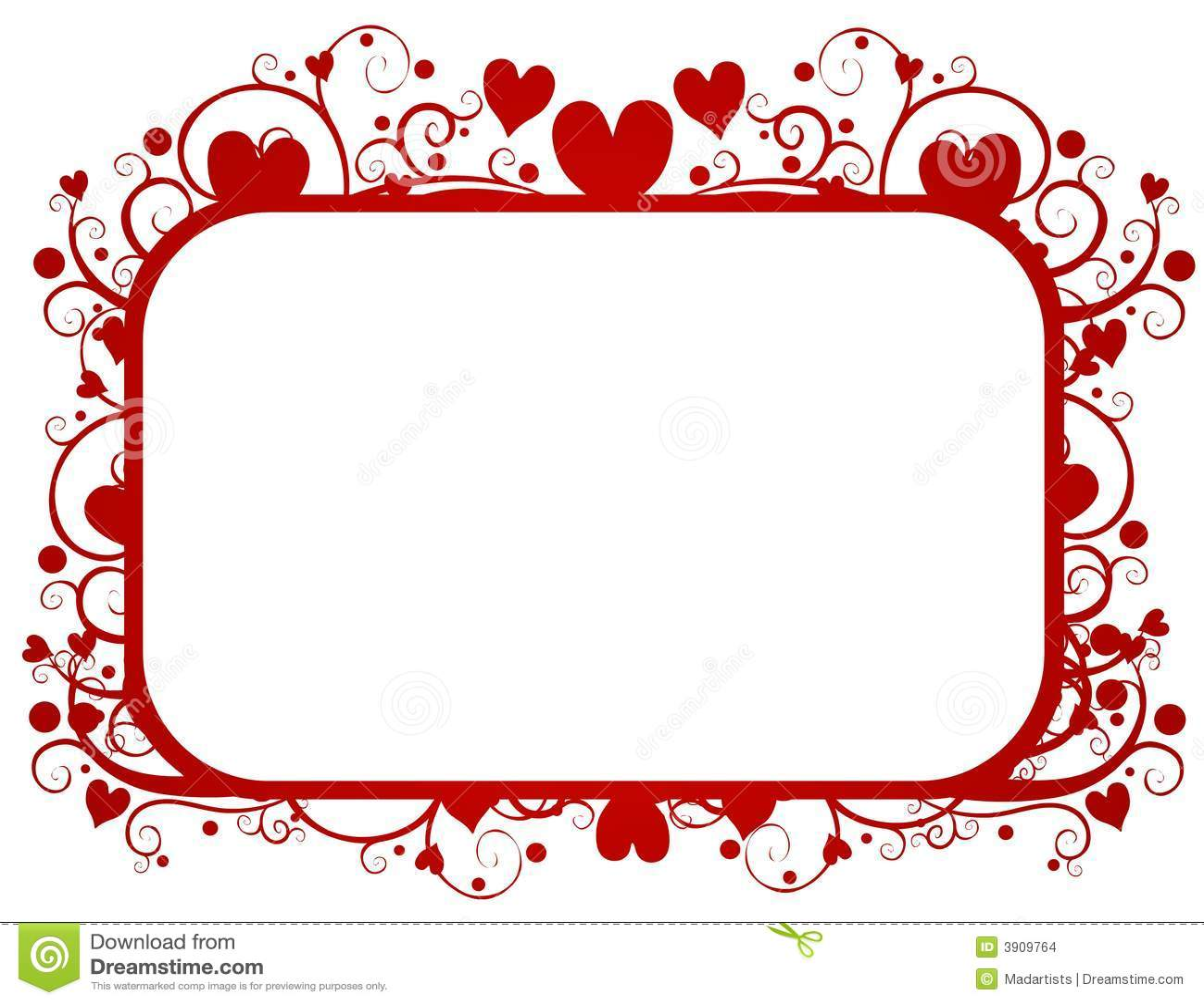 Red Hearts Swirls Valentine S Day Frame Stock Illustration