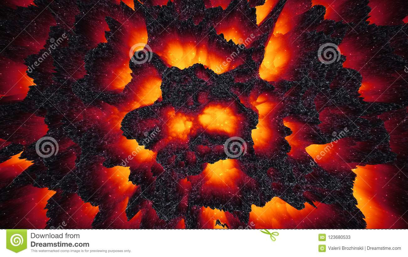 red-hot lava magma background, abstract 3d illustration wallpaper