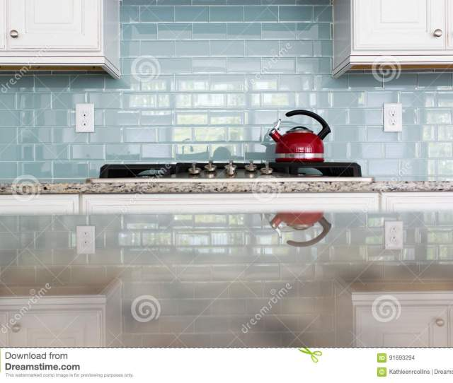 Red Kettle Kitchen Glsubway Tile Backsplash Granite Countertop