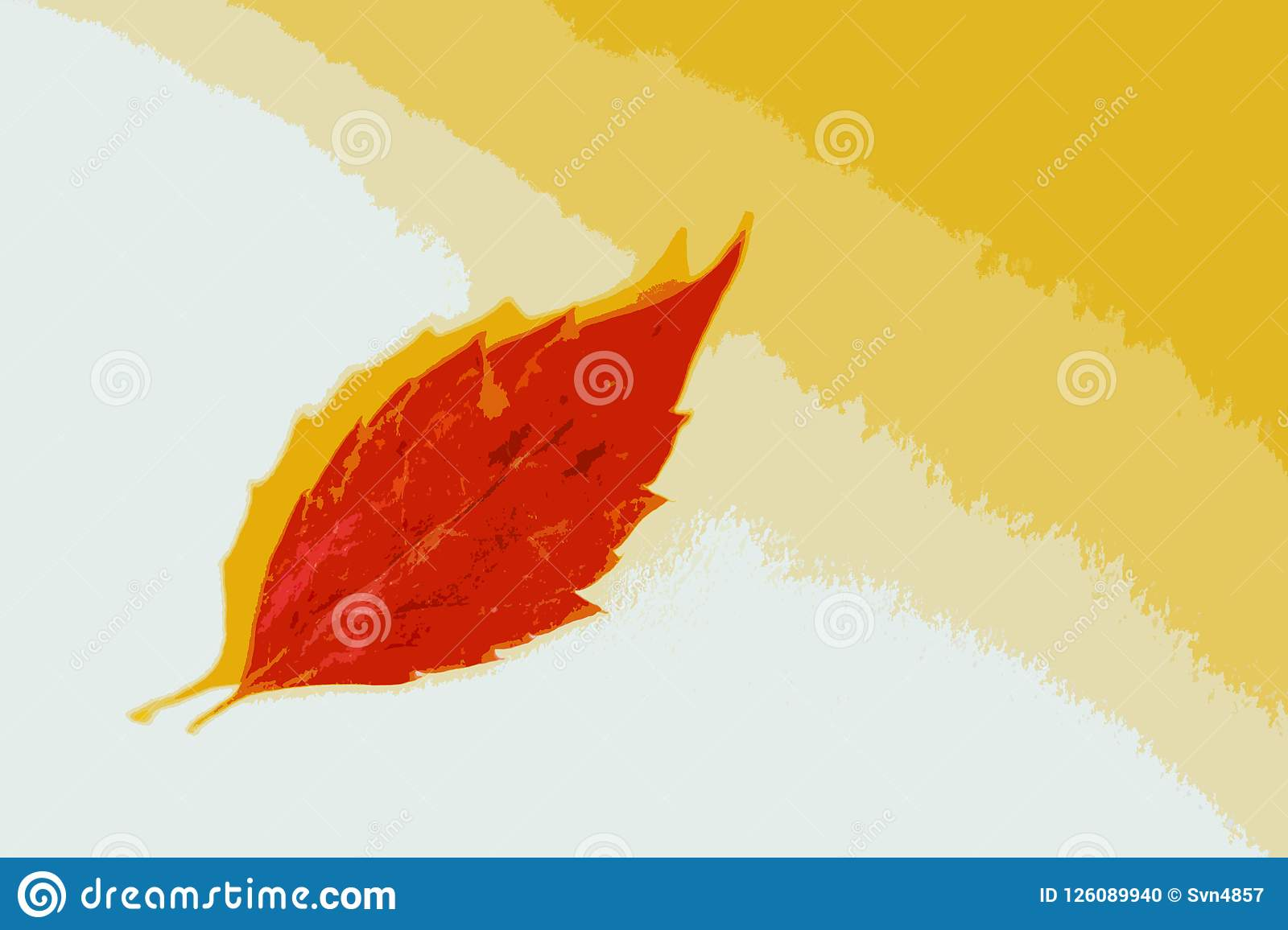 Red Leaf On A White Yellow Background Stock Illustration