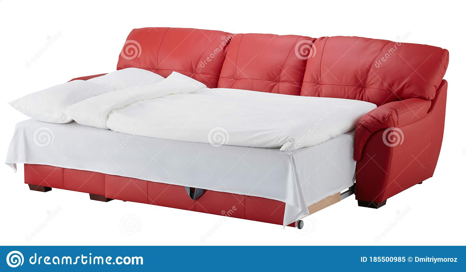 Red Leather Corner Couch Bed Isolated On White Stock Image Image Of Bedroom Design 185500985