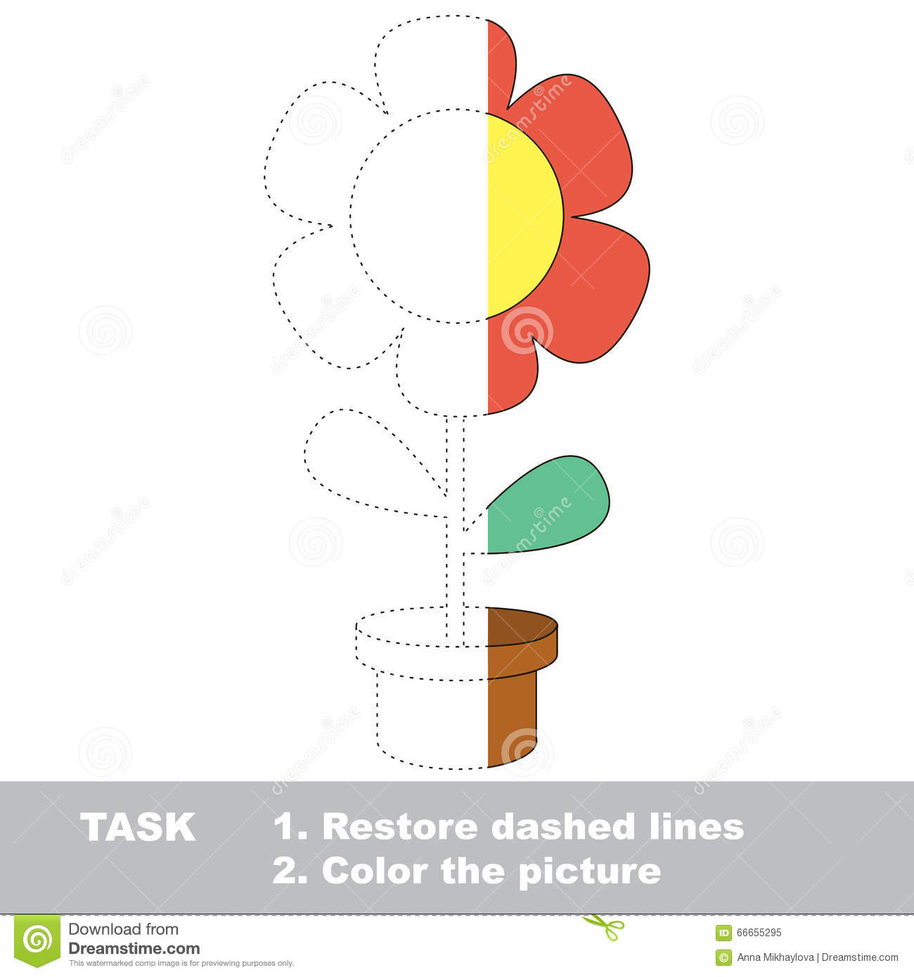 Red Pot Flower To Be Colored Vector Trace Game Stock Vector