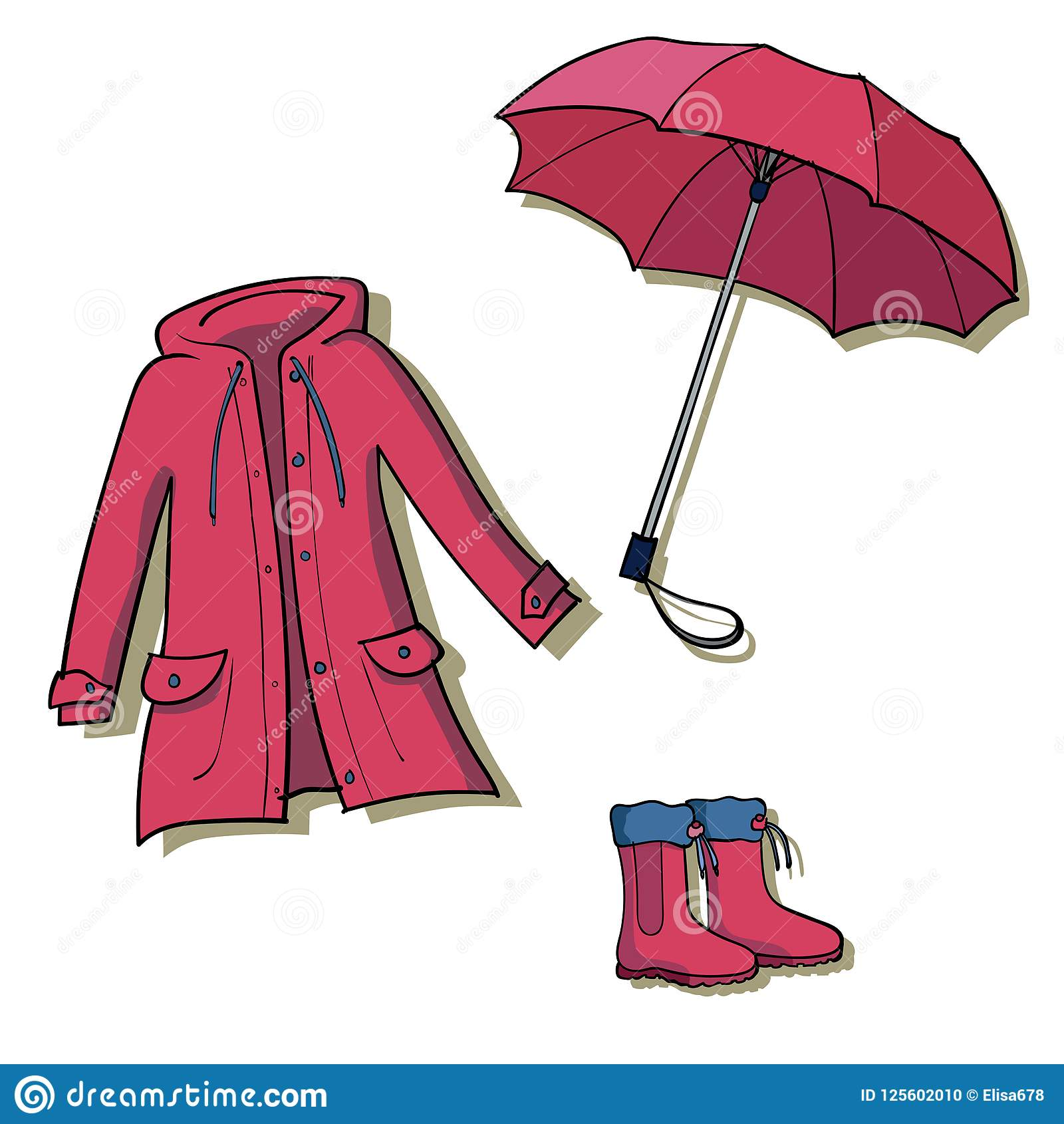 Red Rainy Weather Clothes Collection Stock Vector