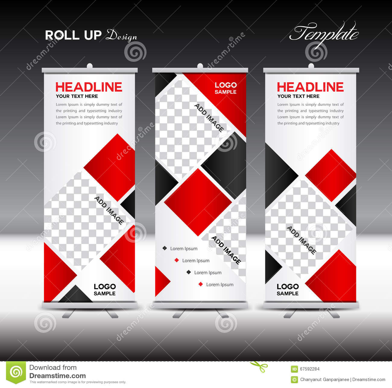 Red Roll Up Banner Template Vector Illustration Polygon Backgrou Stock Vector Image 67592284