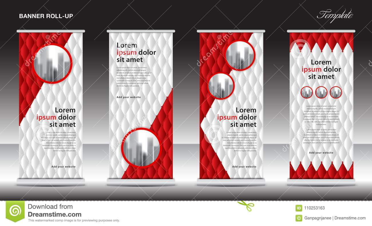Red Roll Up Banner Template Vector Illustration Polygon Background Standy Design Display