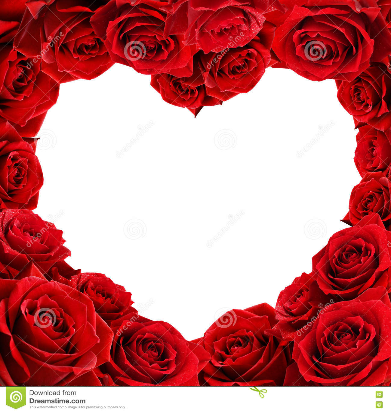 Red Rose Frame In The Shape Of Heart Vector Illustration