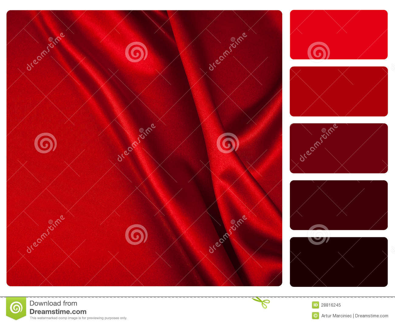 Red Satin Colour Palette Swatch Stock Illustration