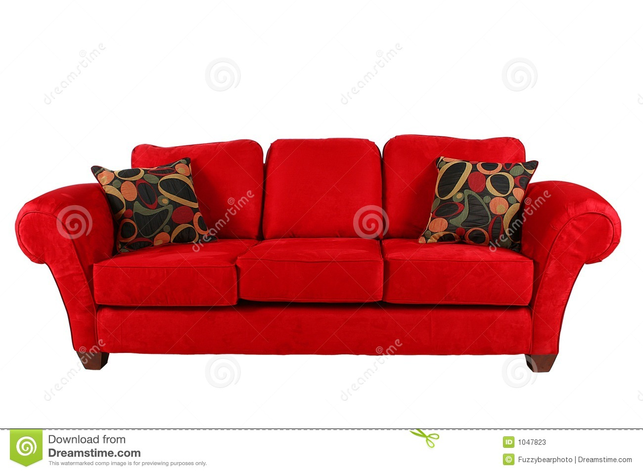 Bright red sofa with heavily patterned throw pillows in matching color, white, light brown and blue. Red Sofa With Modern Pillows Stock Image - Image: 1047823