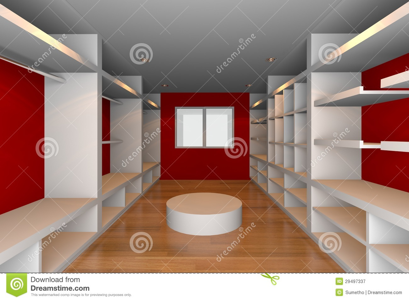 Red Walk In Closet Stock Illustration Illustration Of