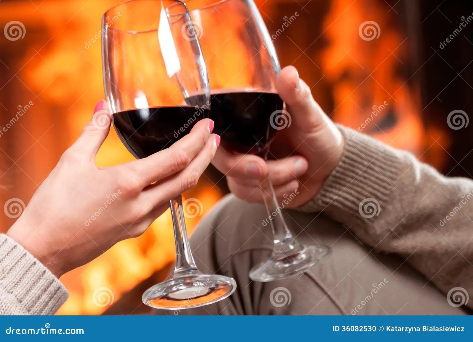 Romantic Wine Toast Fireplace