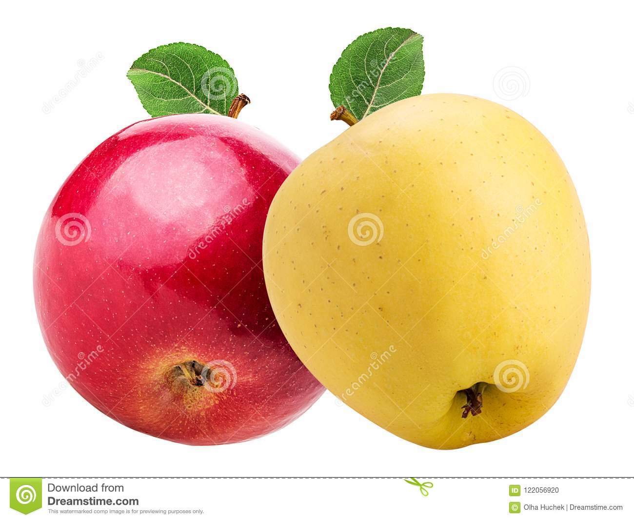 Red And Yellow Apple With Green Leaf Stock Photo
