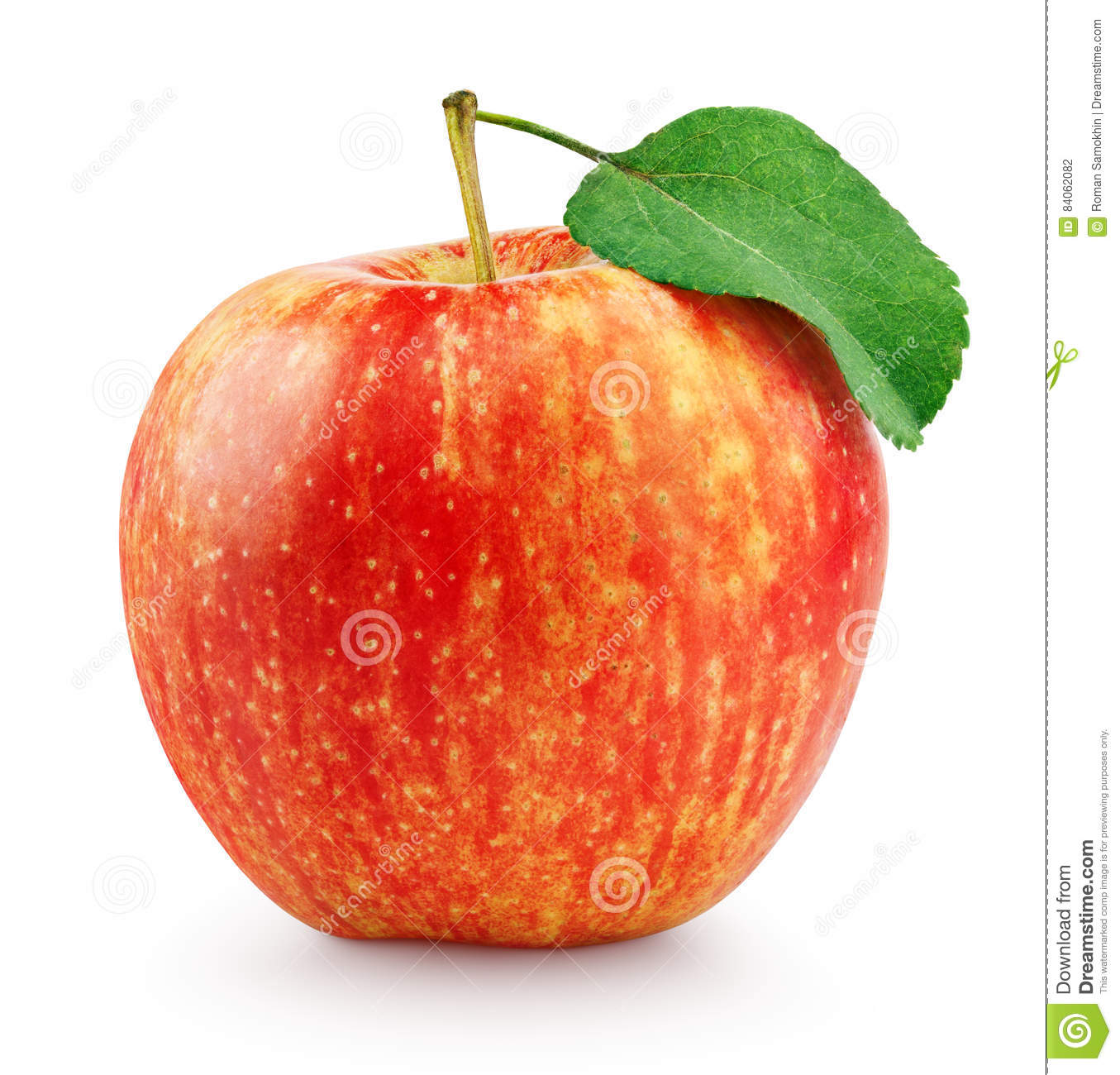Red Yellow Apple With Leaf Isolated On White Stock Photo