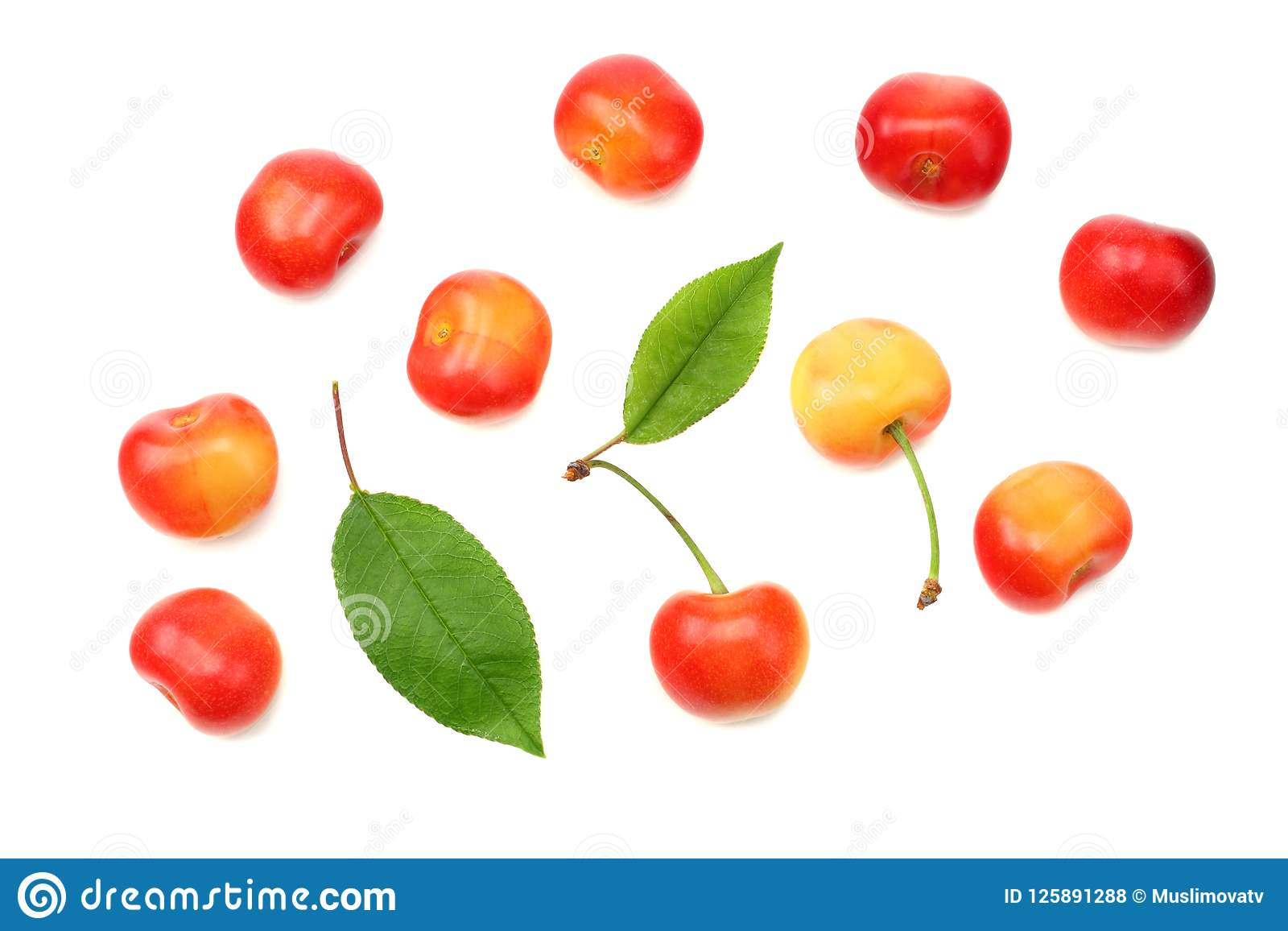 Red And Yellow Cherry With Green Leaf Isolated On White