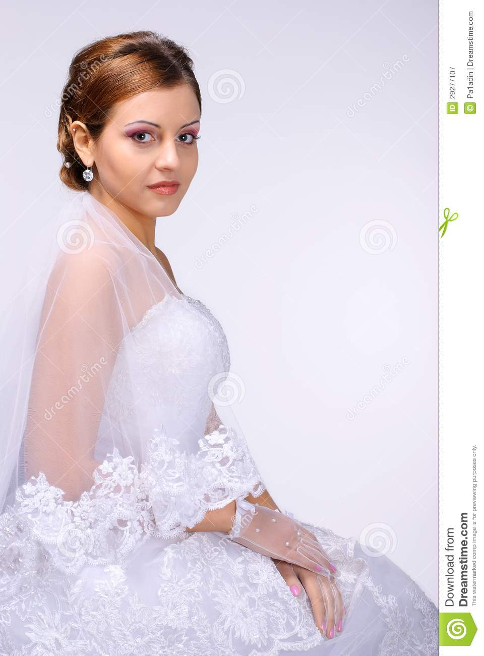 Redhead Bride Portrait In Studio Royalty Free Stock