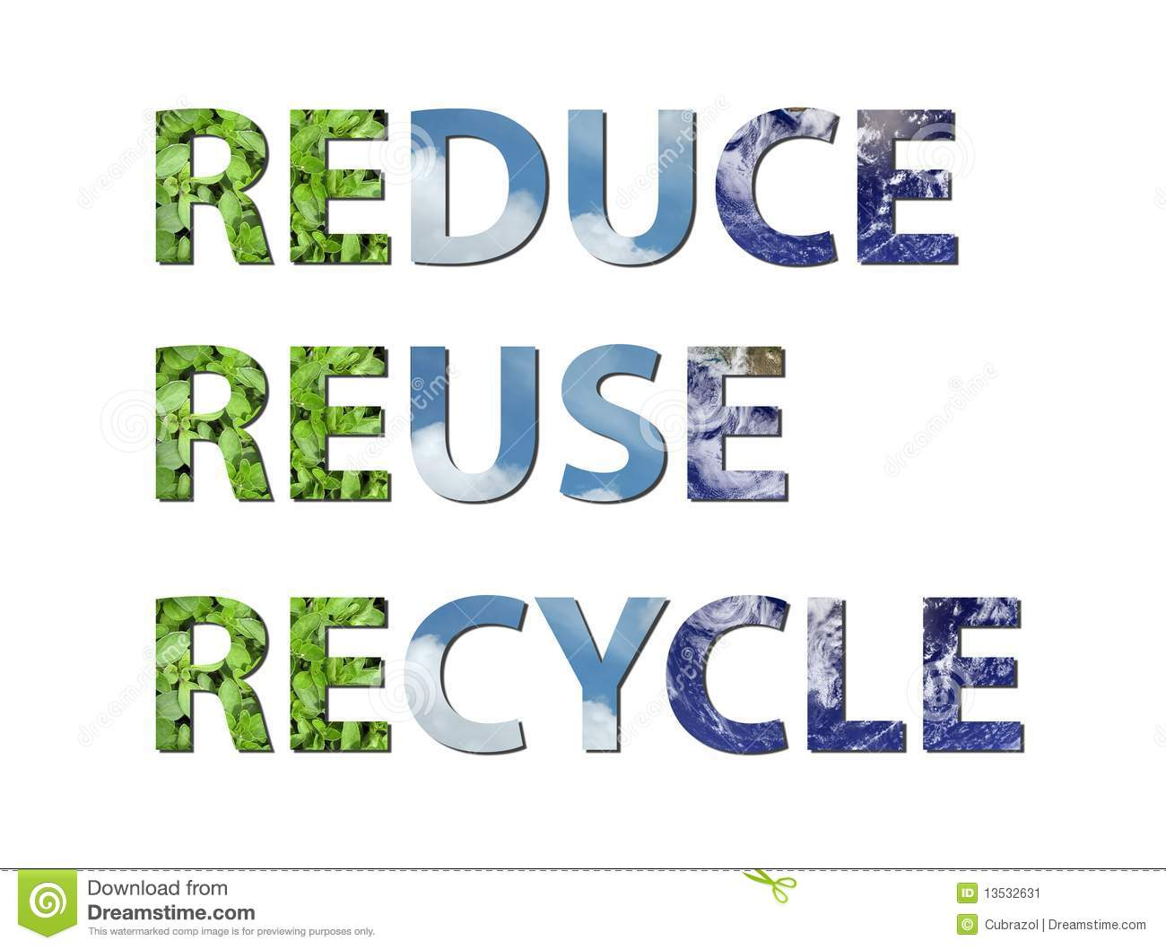 Reduce Reuse Recycle Earth Water Air Stock Image