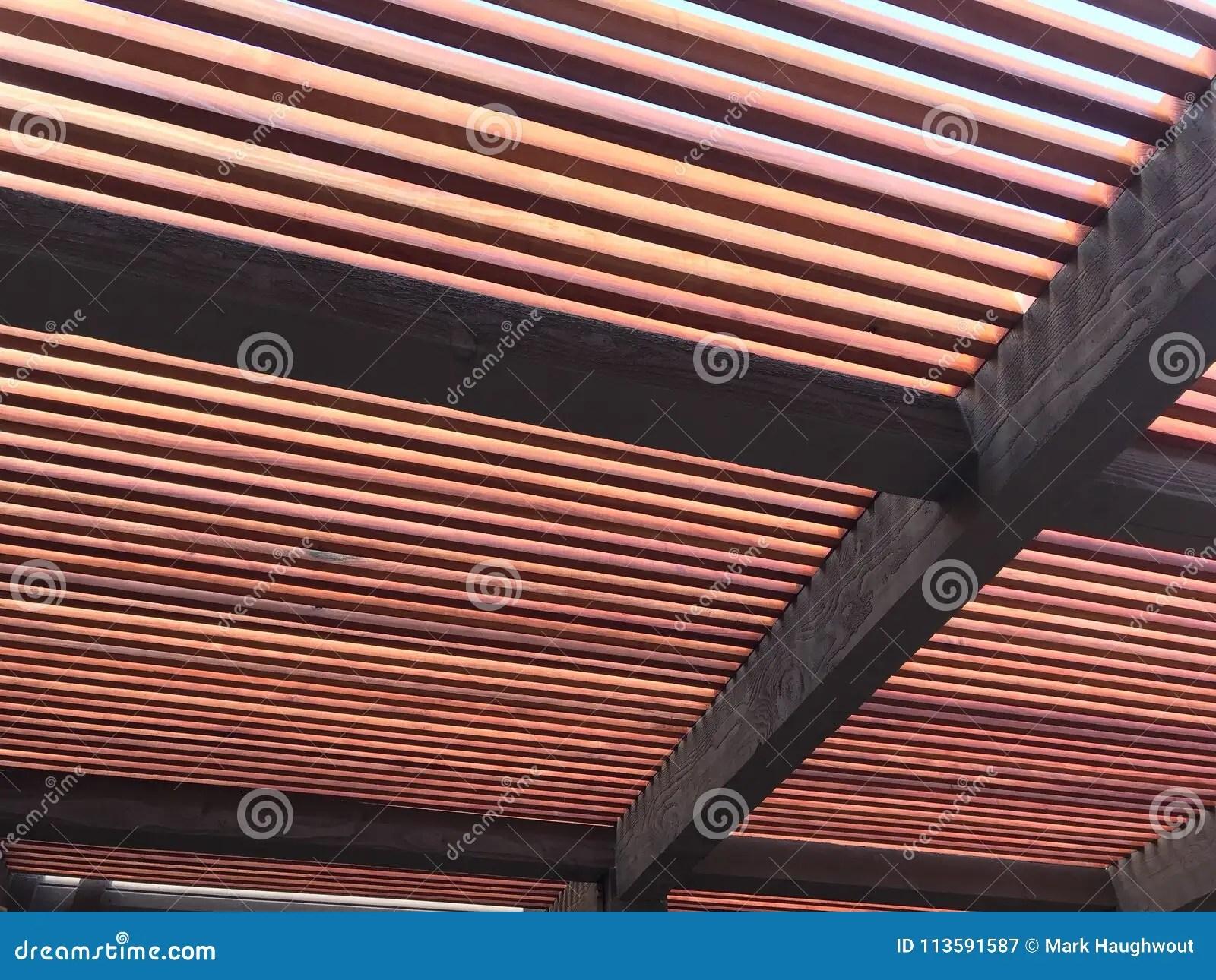 https www dreamstime com redwood trellis new patio cover large wood image113591587