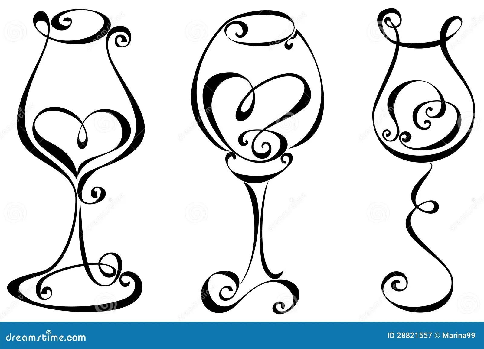 Reeks Gestileerd Wijnglas Vector Illustratie Illustratie