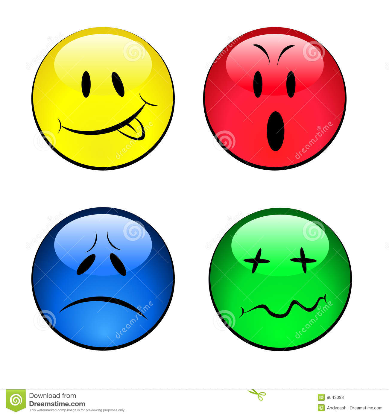 Reeks Smiley Emotionele Gezichten Vector Illustratie