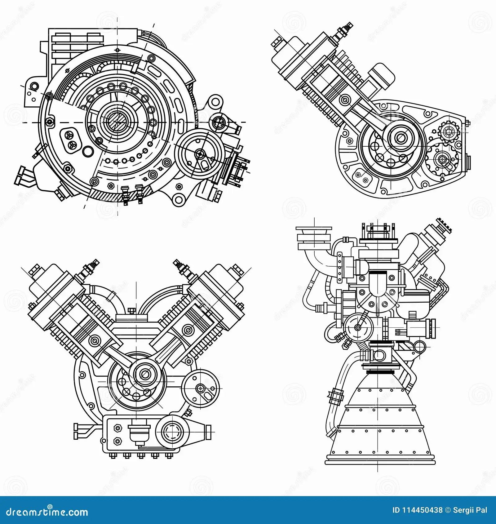 Reeks Tekeningen Van Motoren