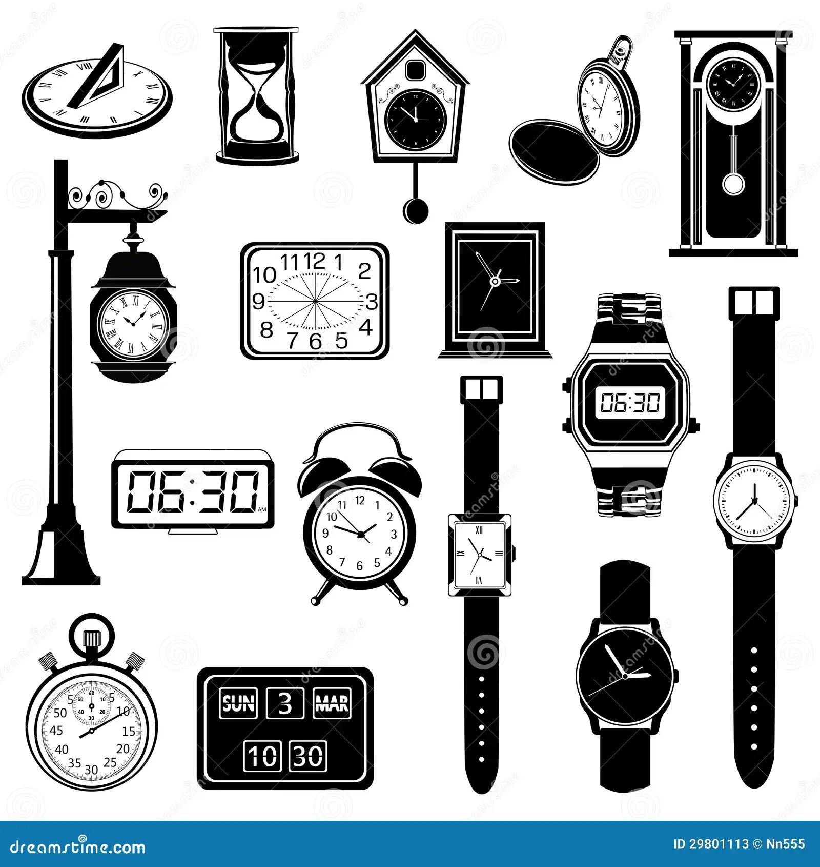 De Evolutiereeks Van De Klok Van Het Horloge Vector