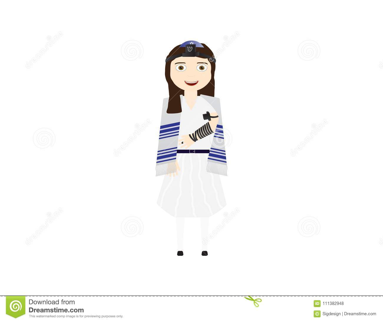 Reform Jewish Girl With Tefillin And Tallit Vector