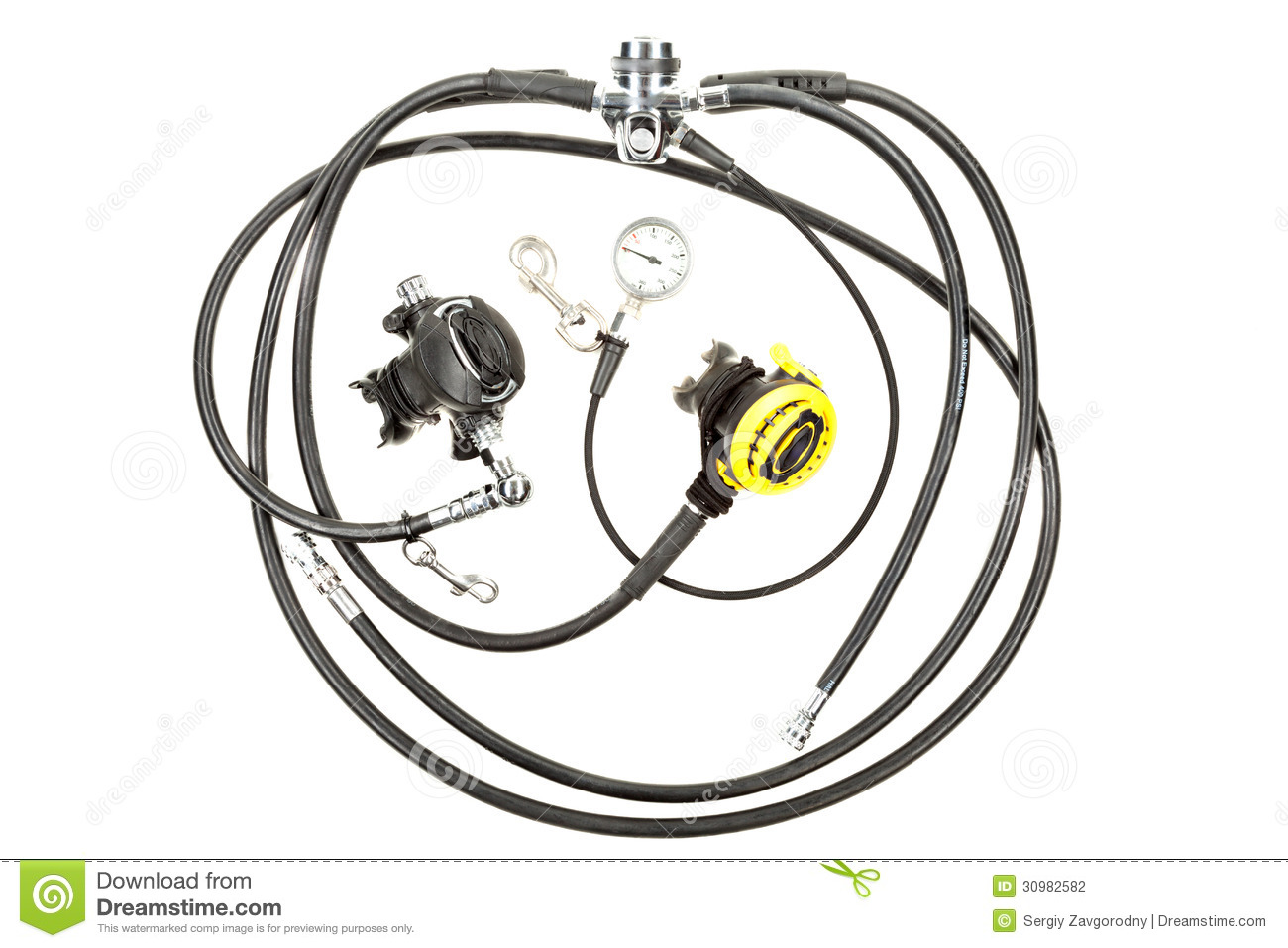 Regulator And Pressure Gauge For Diving Stock Photography