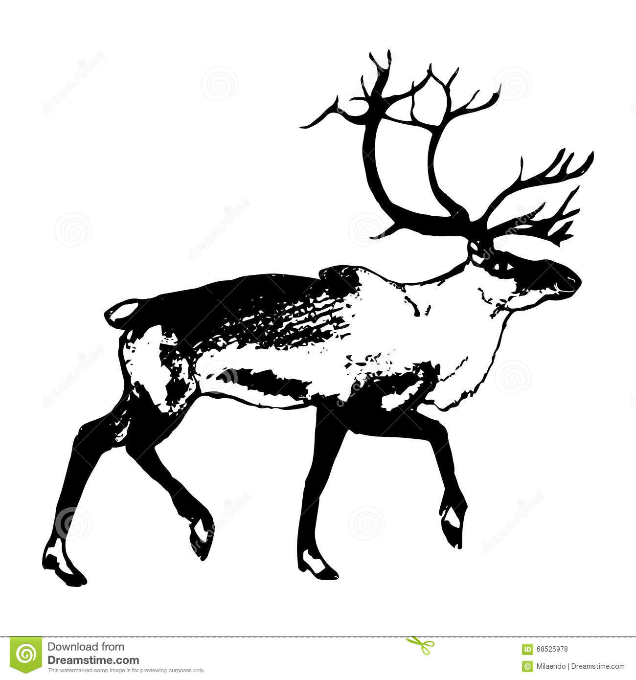 The Figure Of The Reindeer Line Icon Vector Illustration