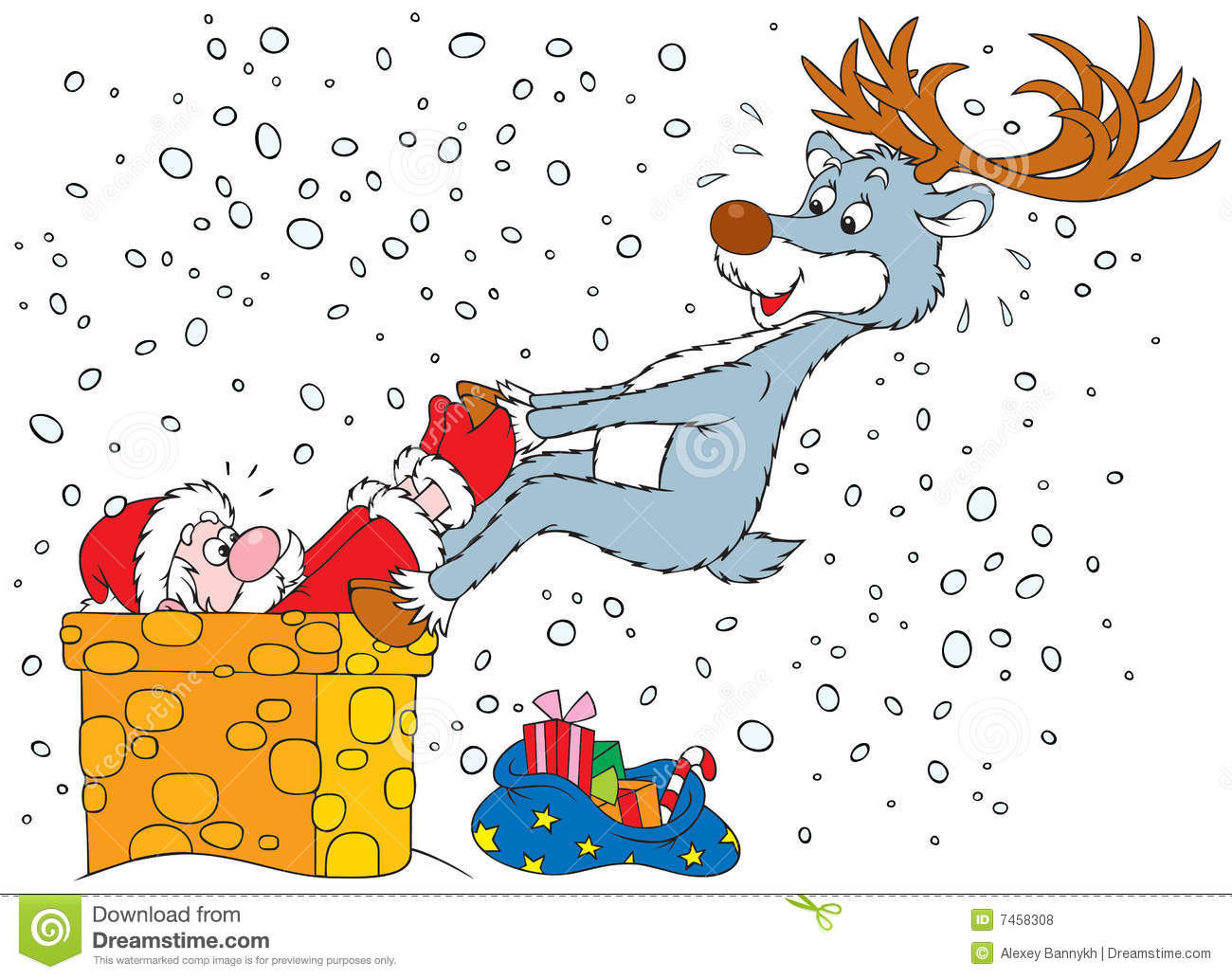 Reindeer Pulls Out Santa Got Stuck In The Chimney Stock