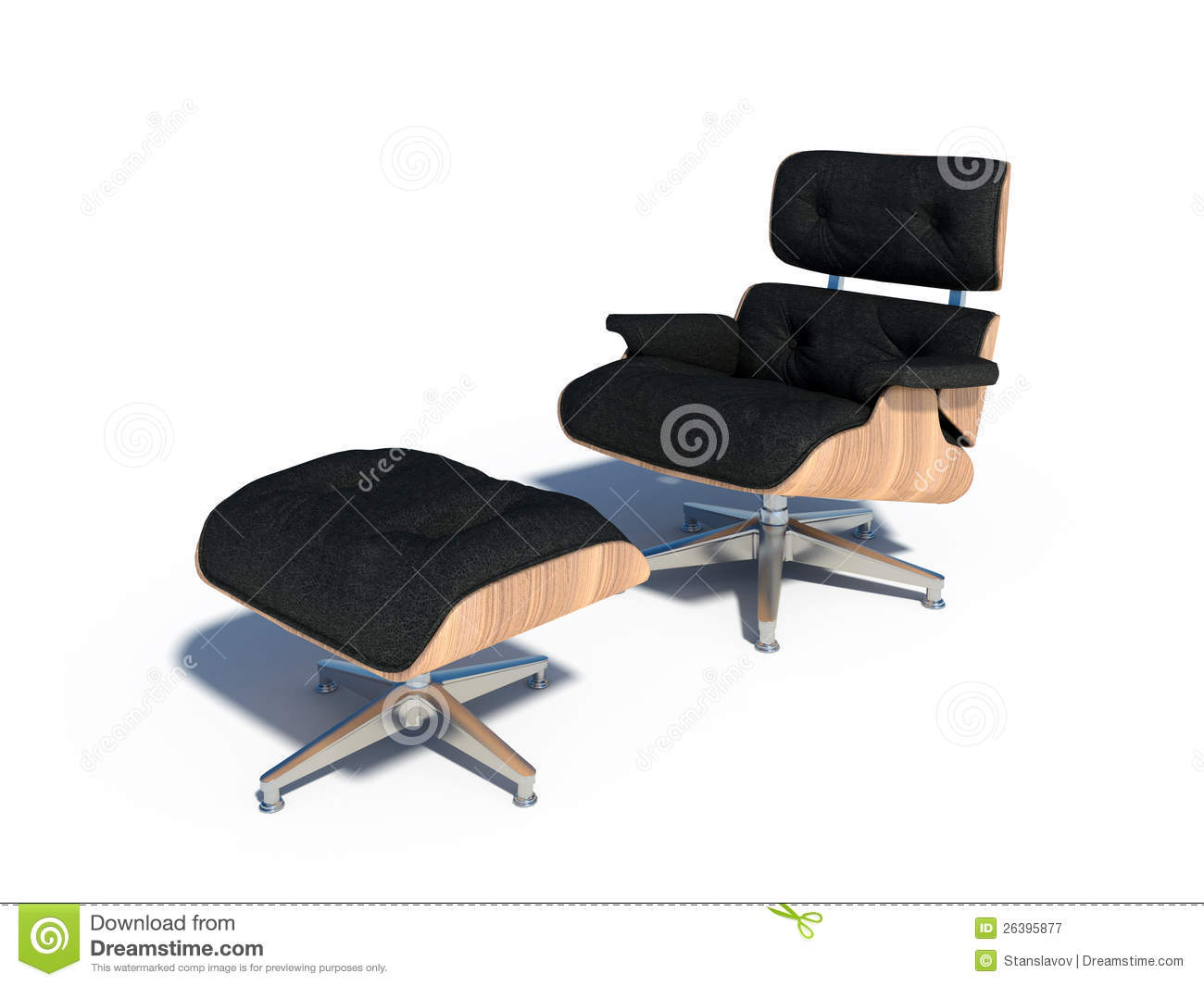 Relax Chair Black Leather Wood Stock Illustration