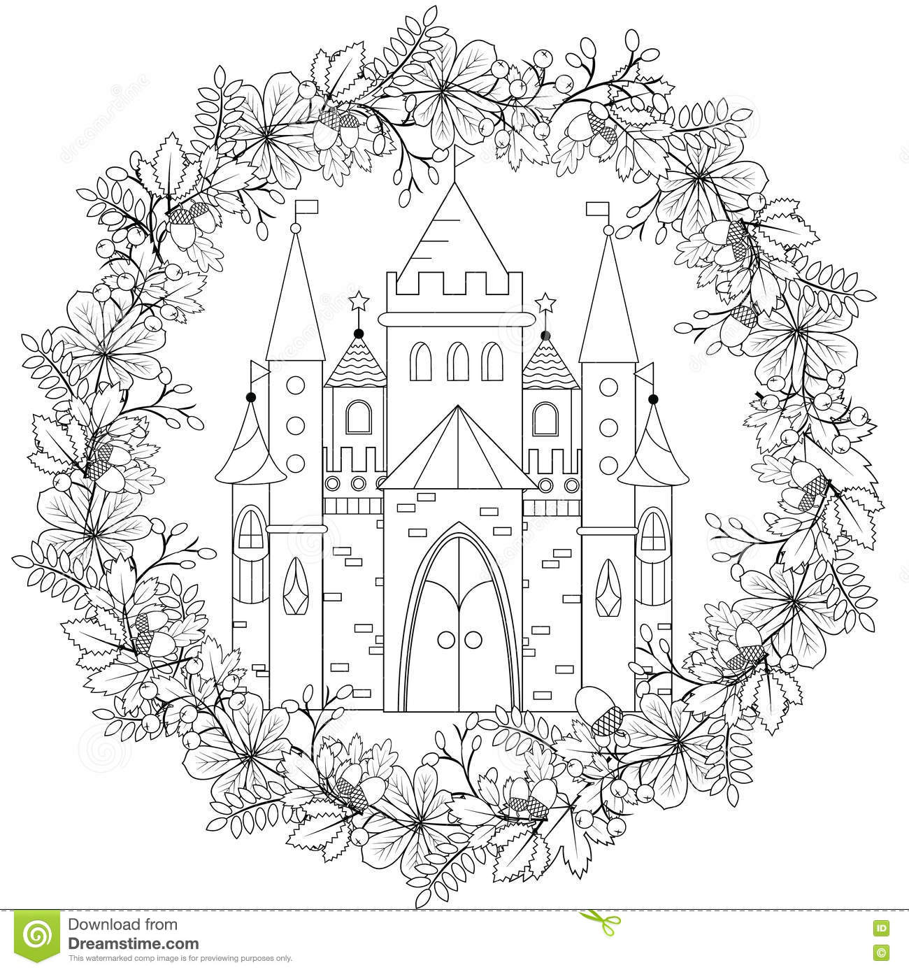 Relaxing Coloring Page With Fairy Castle In Forest Wreath