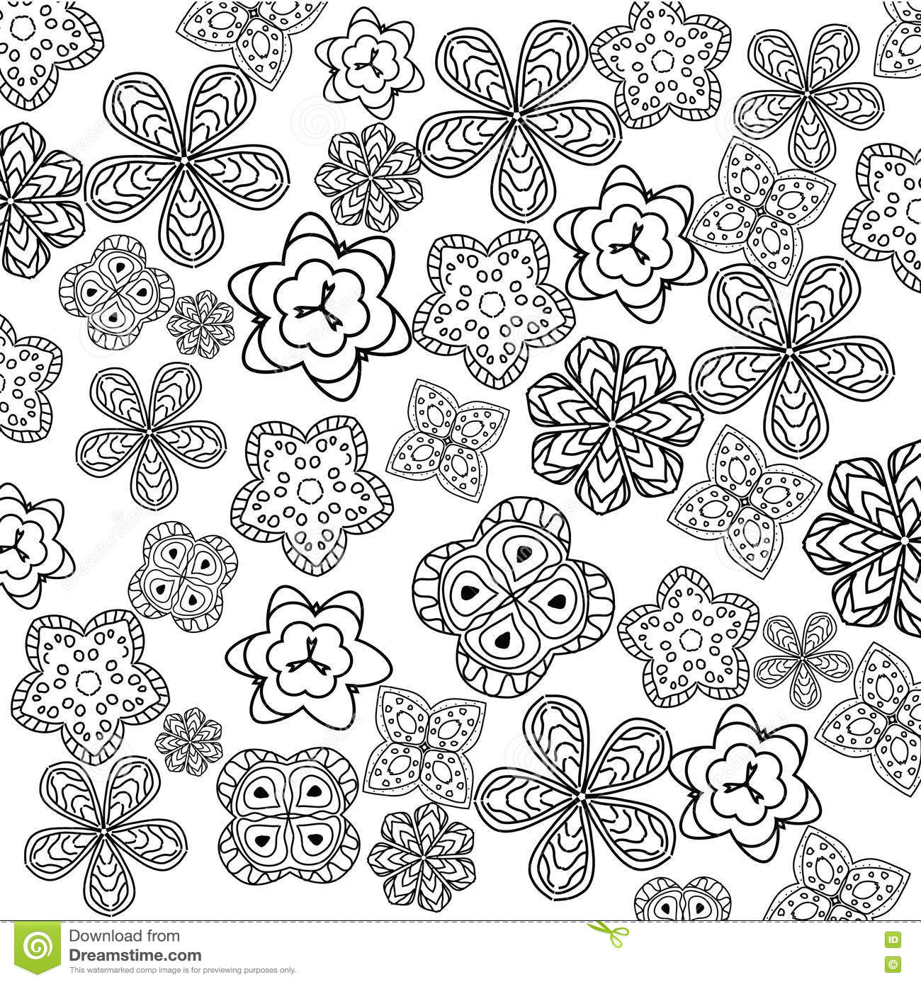 Relaxing Coloring Page With Flowers For Kids And Adults