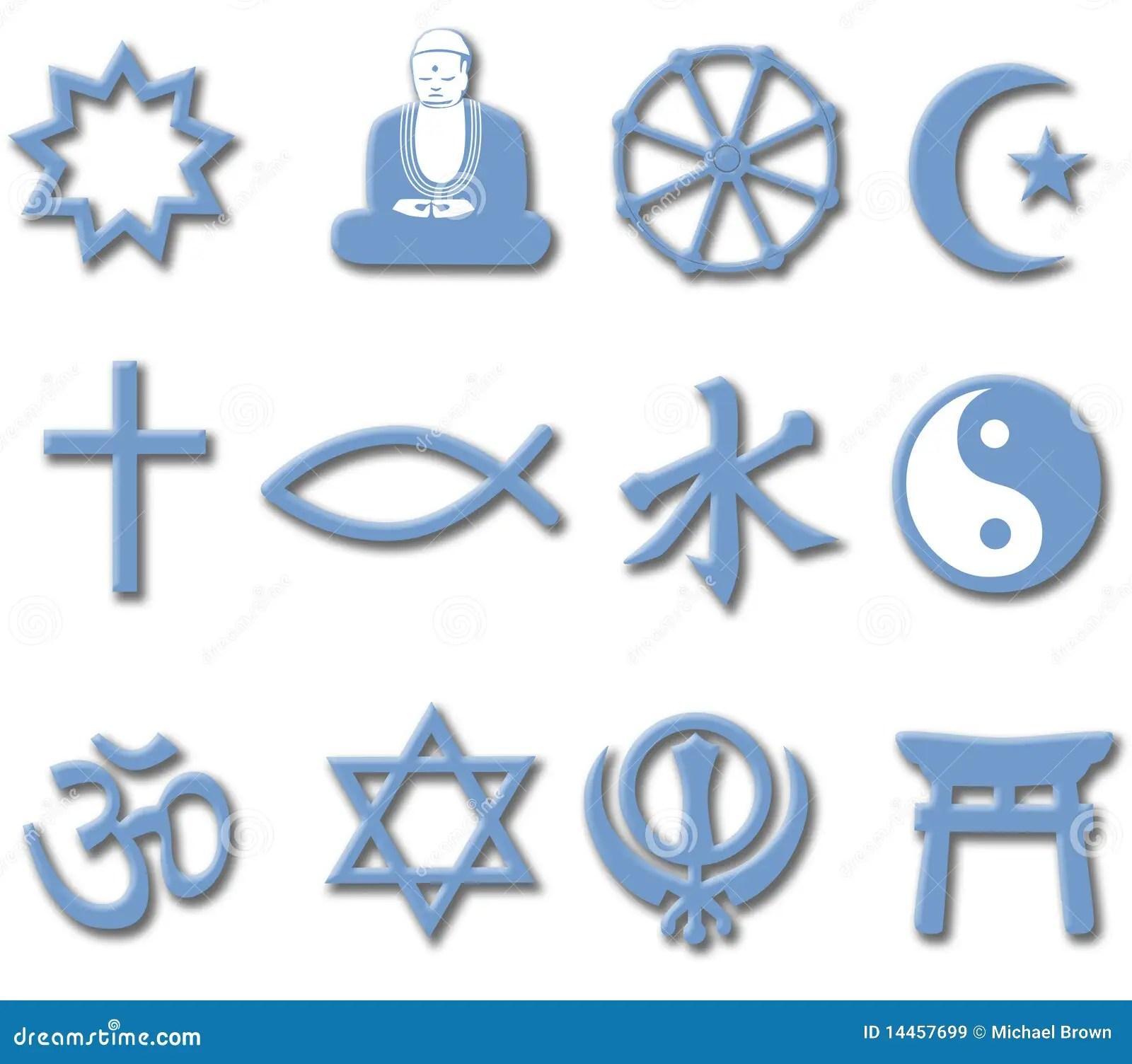 Religion Symbol Set 3d Major World Religions Royalty Free