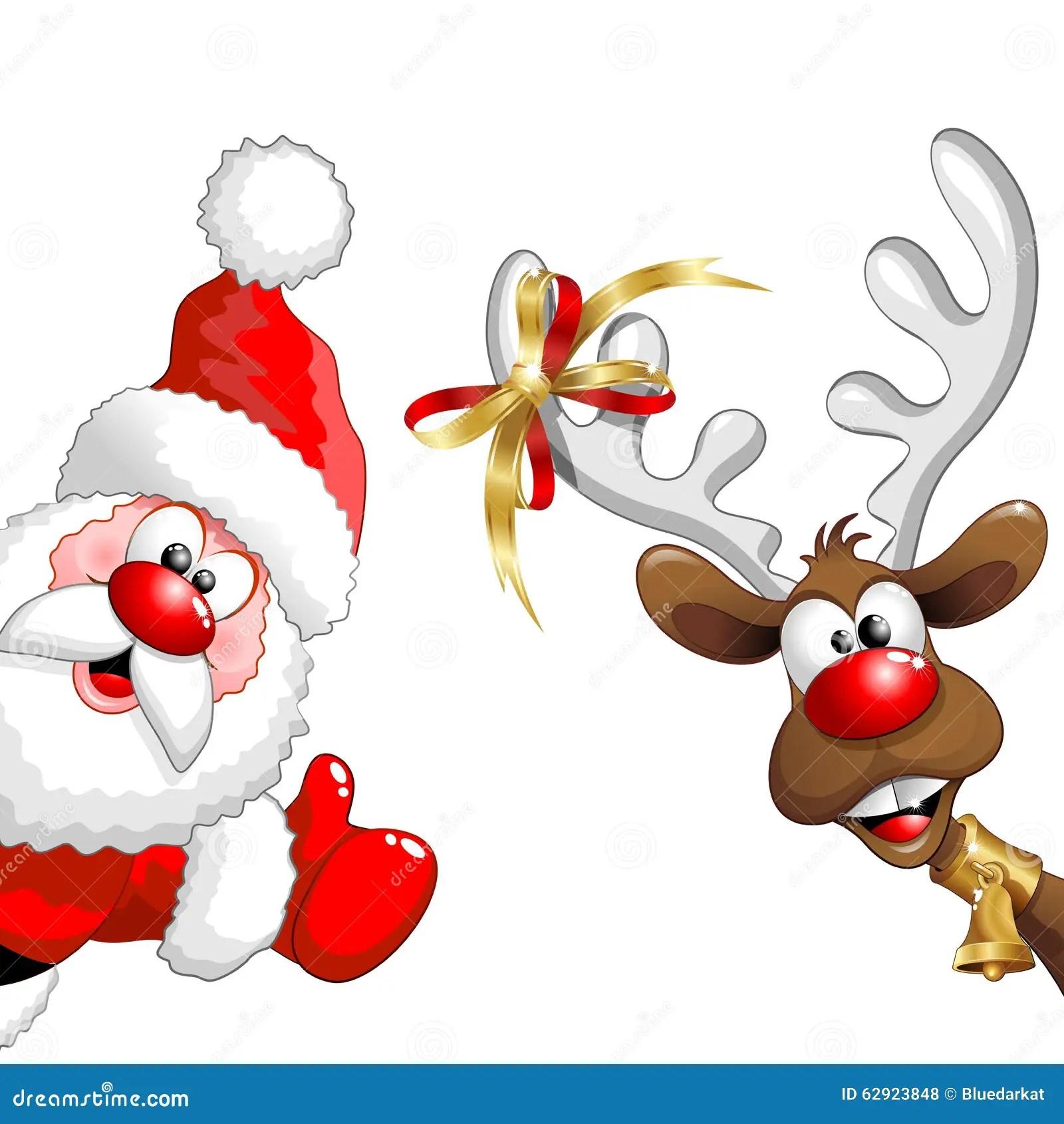 Rena E Santa Fun Cartoons Do Natal Ilustrao Do Vetor