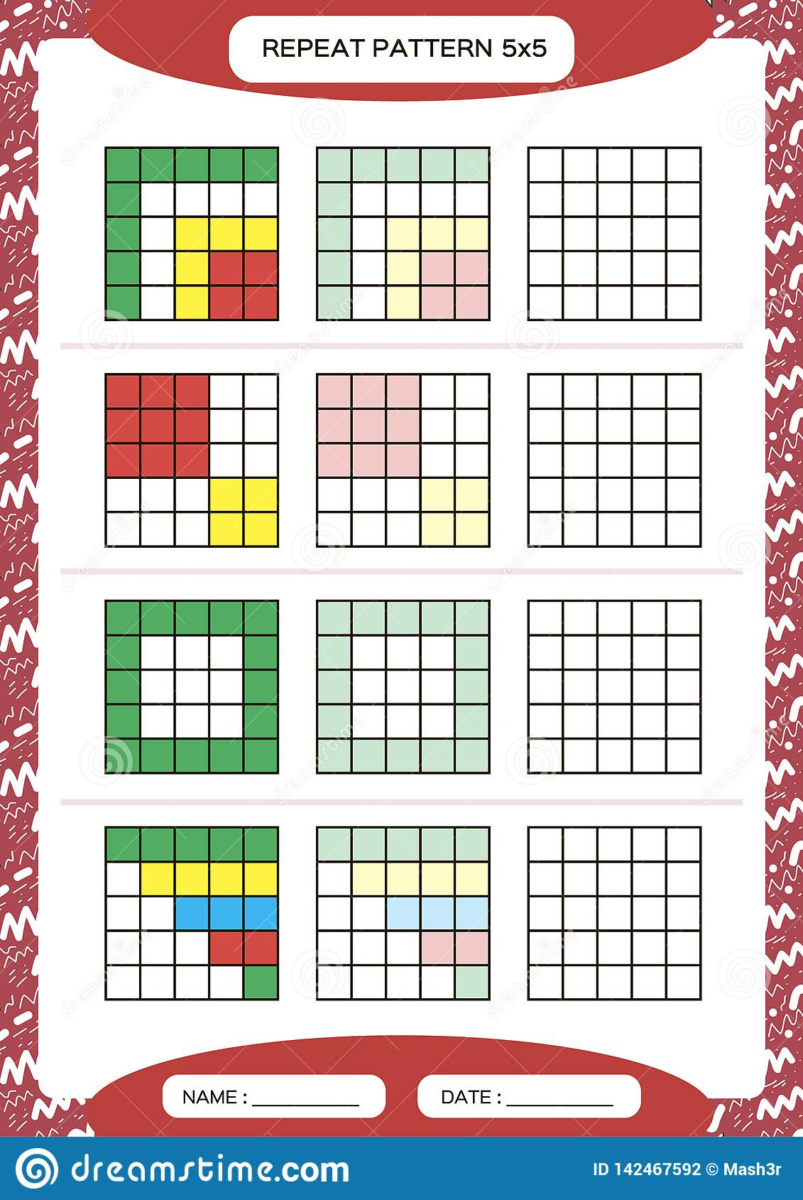 Repeat Colorful Pattern Cube Grid With Squares Special